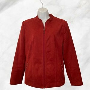 Red Suede Like Fabric Front Zipper Moto Jacket